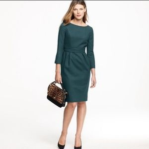 J. Crew Clea Dark Teal Wool Dress